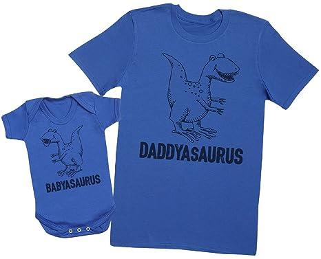 cc8faed4 Daddysaurus & Babysaurus - Matching Father Baby Gift Set - Mens T Shirt &  Baby Bodysuit