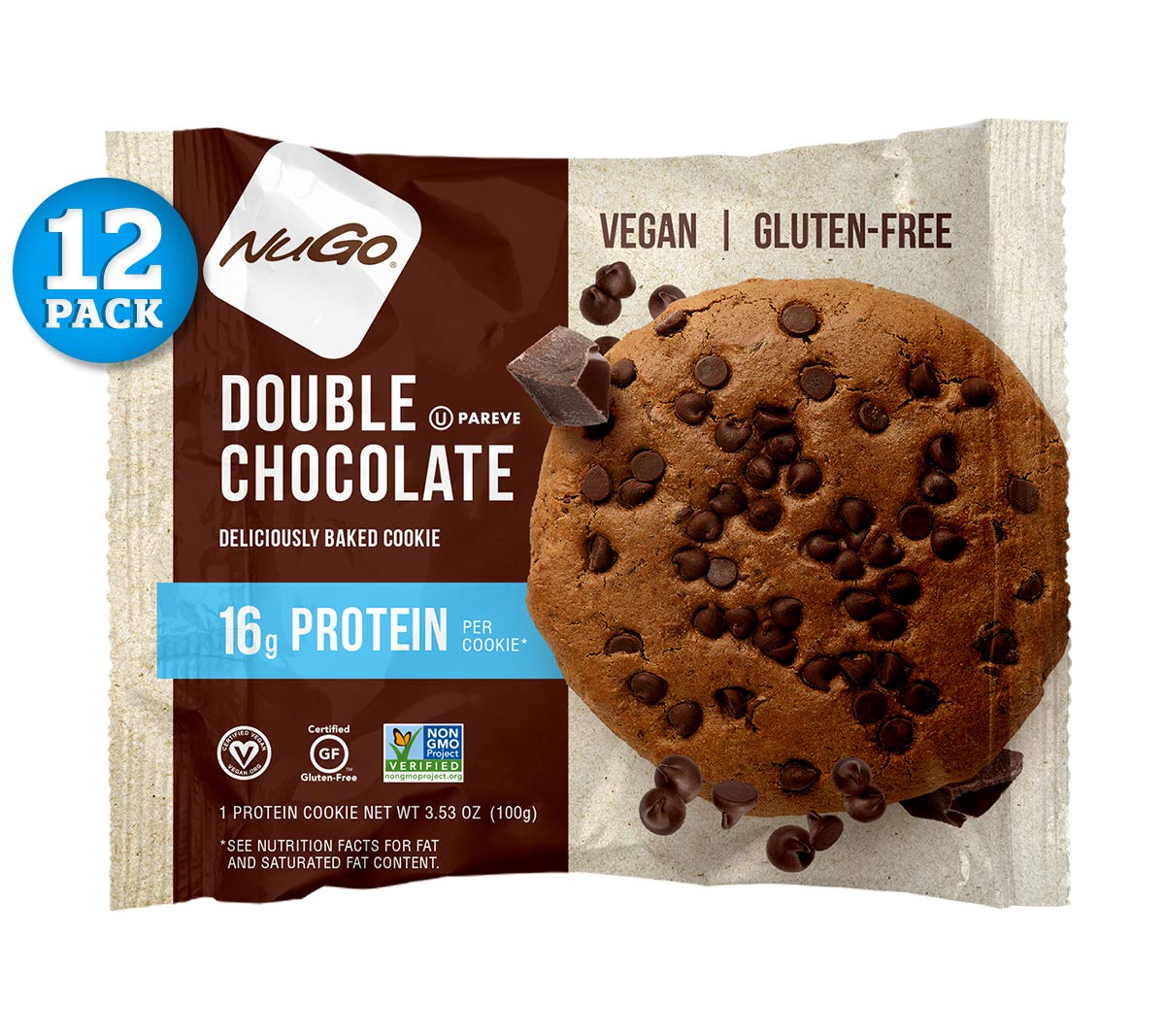 NuGo Protein Cookie, Double Chocolate, 16g Vegan Protein, Gluten Free, Soy Free, 12 Count by NuGo (Image #1)