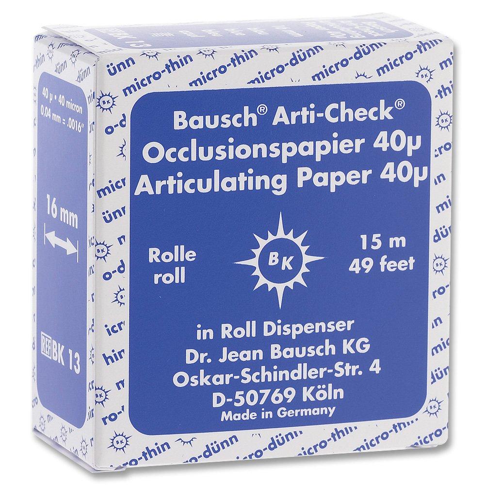 Bausch Articulating Paper 40u (.0016'') Blue 15m x 16mm roll BK-13 (200) by BAUSCH
