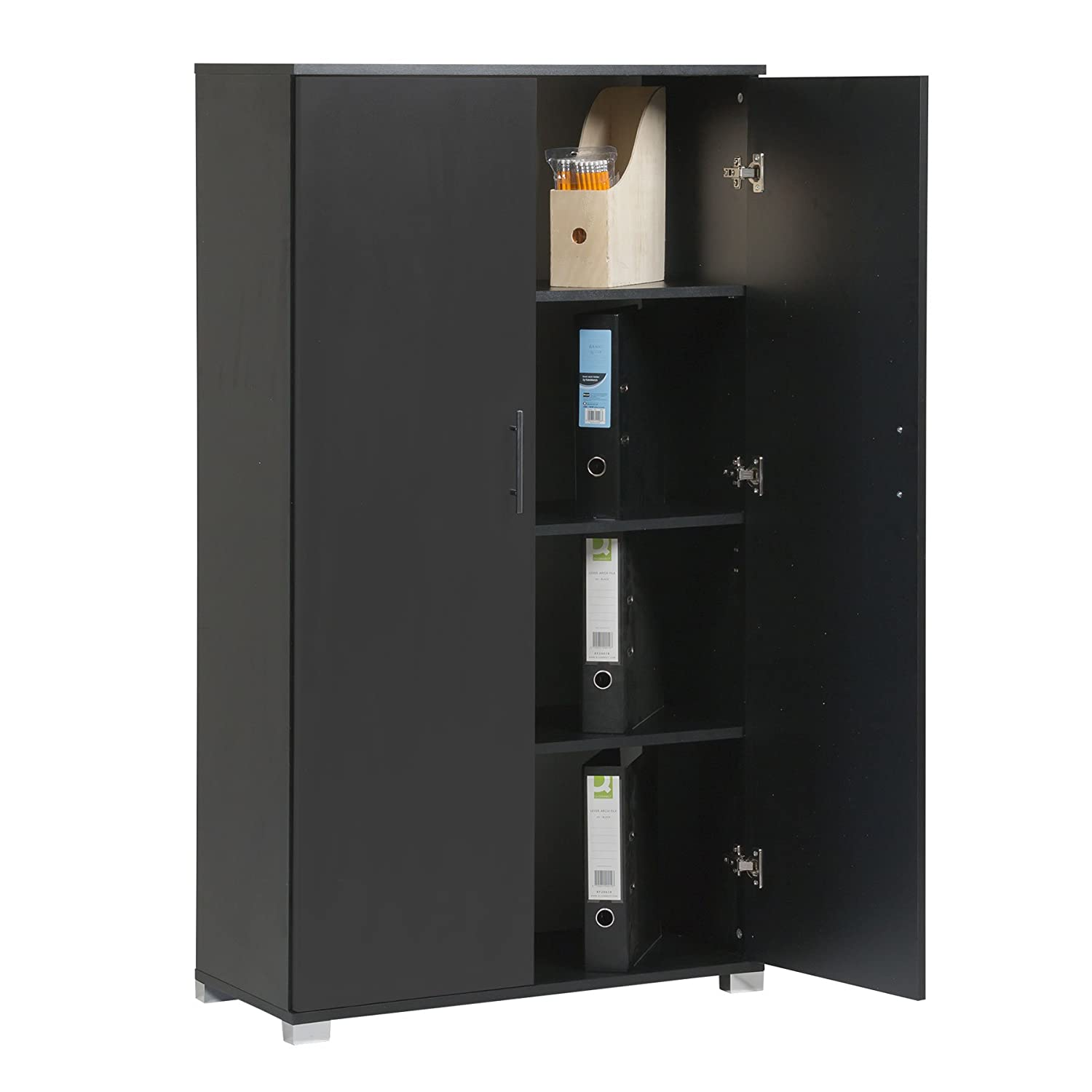 Black Office Cupboard Filing Storage Stationary Cabinet - Office Furniture, 4 Storage Shelves - 2 Door Cabinet - 800mm Wide - Massive Storage Capacity - 40 x A4 Box File Capacity MMT