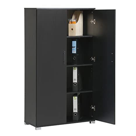 Black Tall 2 Door Storage Cupboard Bookcase Pantry Cabinet for Home Office  Kitchen 4 Shelves - 31.5\