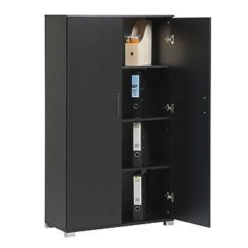 Black Office Storage Cupboard Bookcase Filing Cabinet 4 Heavy Duty