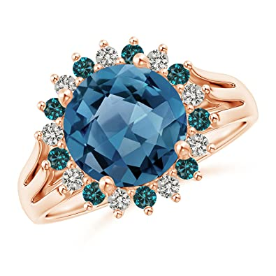 Angara Swiss Blue Topaz Triple Shank Ring with Alternating Halo hAXKTXO7