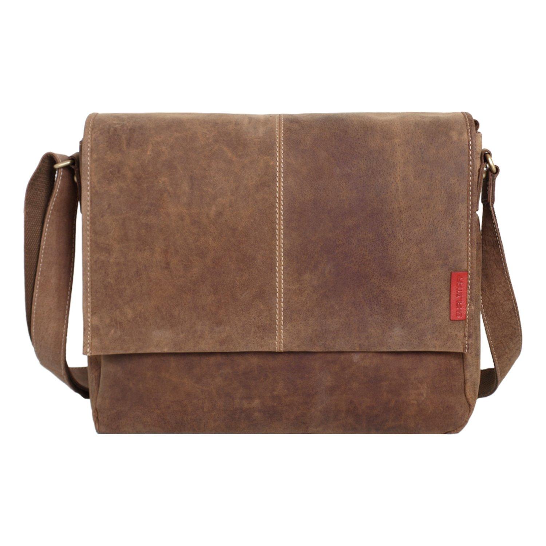 Messenger-Bag / Büchertasche aus geöltem Buffalo Leder 38x29x11 cm von Outback Model: Kalgoorlie, Farbe / Colour:Natural Buckskin 3214