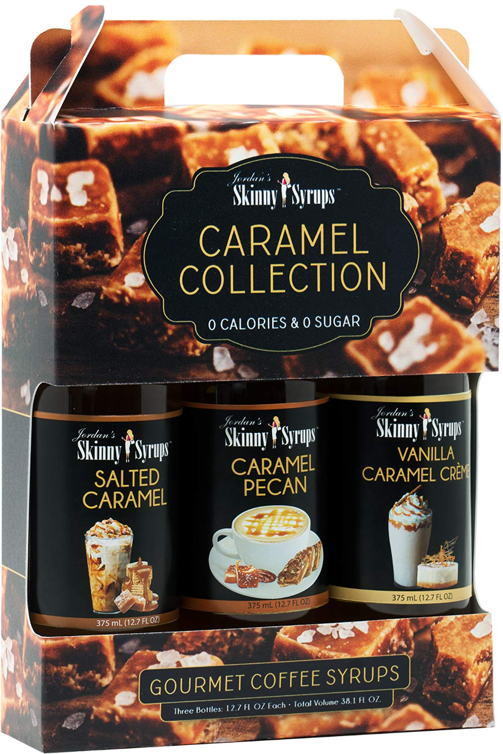Jordan's Skinny Syrups |Caramel Collection Syrup Trio| Healthy Flavors with 0 Calories, 0 Sugar, 0 Carbs |12.7oz Bottles - Pack of 3