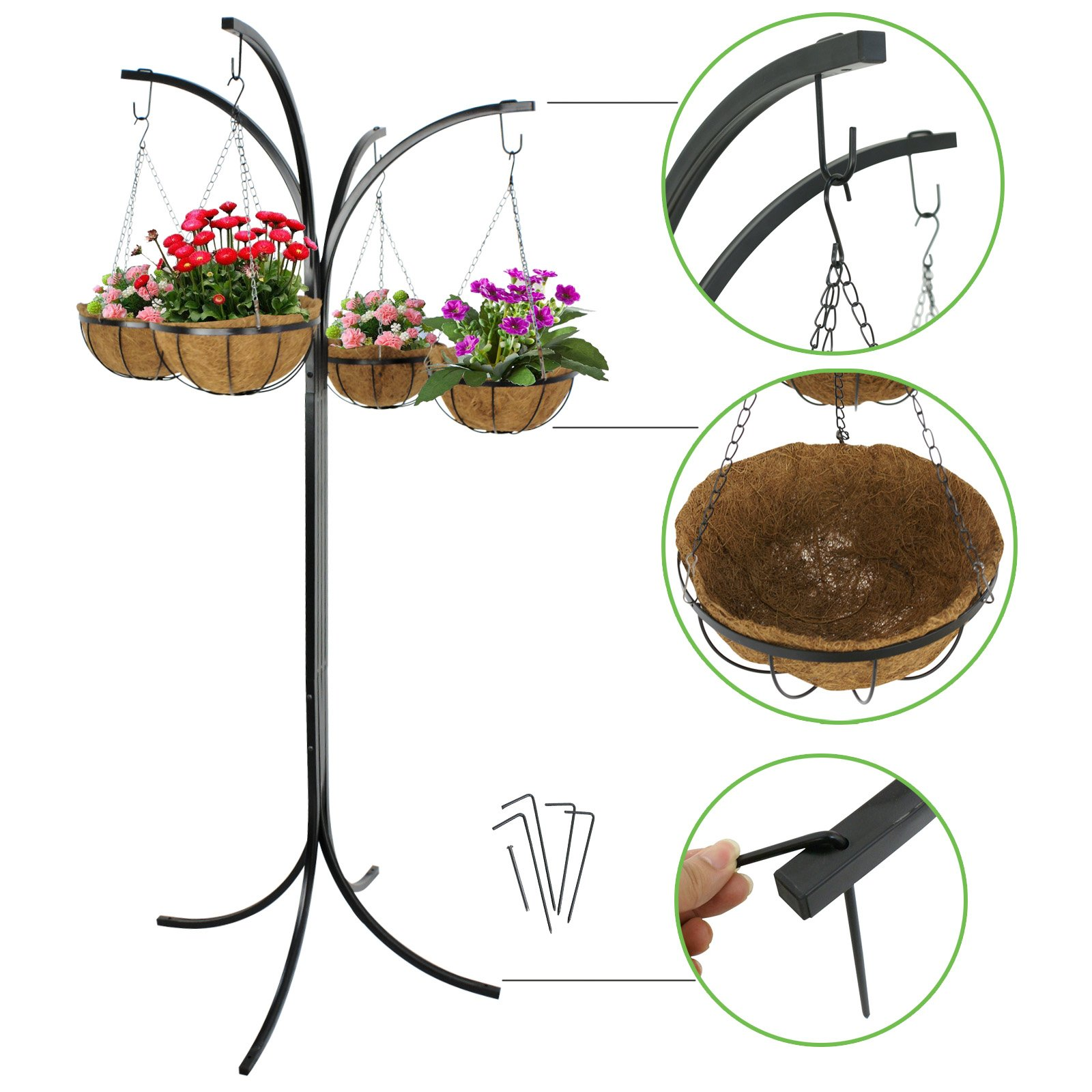 Smartxchoices Black Solid Steel Yard Tree System Plants Holder Stand Heavy Duty 4-arm Tree with 4 Hanging Baskets Display Stand Rack for Yard Gardening Pots Patio Decoration