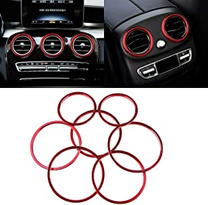 Xotic Tech 7X Red Sporty AC Vent Decoration Cover - Air Condition Vent Trim Ring Interior Decor for Mercedes Benz C-Class W205 C180 C200 C250 C300 C350 C400 C63 AMG