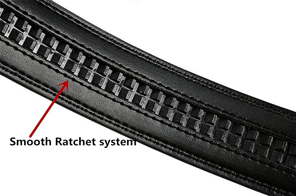 Belts For Men Black Genuine Leather Dress Belt With Automatic Buckle