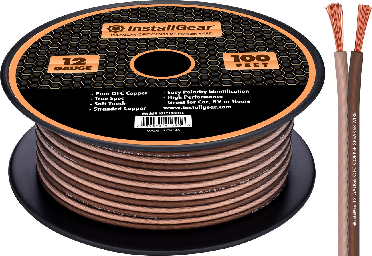 InstallGear 12 Gauge Speaker Wire - 99.9% Oxygen-Free Copper - True Spec and Soft Touch Cable (100-feet) by InstallGear