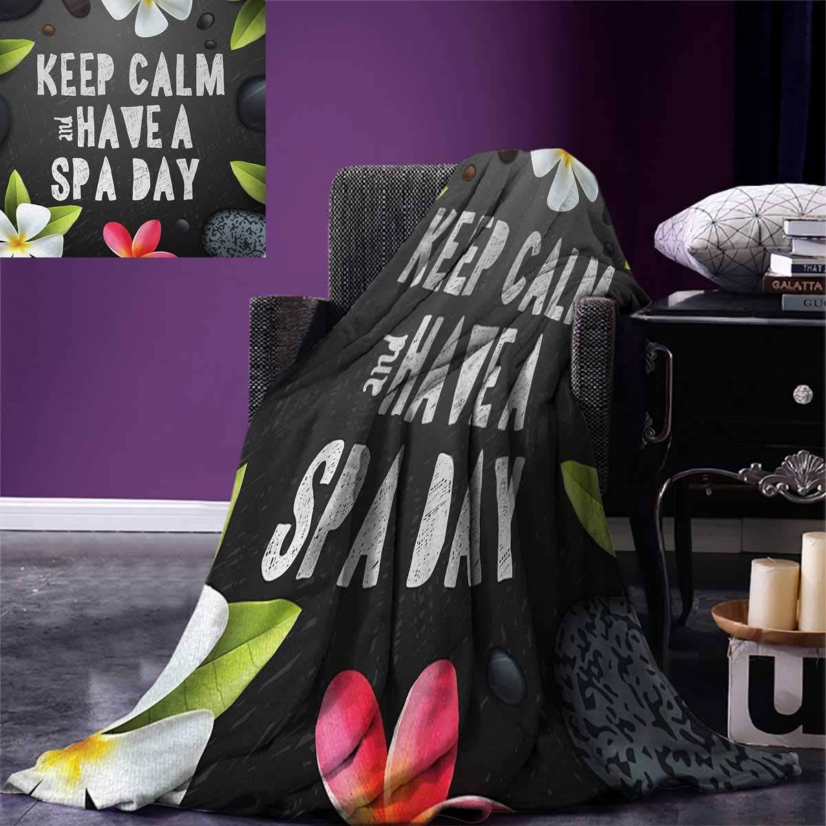 smallbeefly Zen Digital Printing Blanket Keep Calm Have a Spa Day Quote Healthcare Beauty Treatment Graphic Stones Flowers Summer Quilt Comforter 80''x60'' Multicolor
