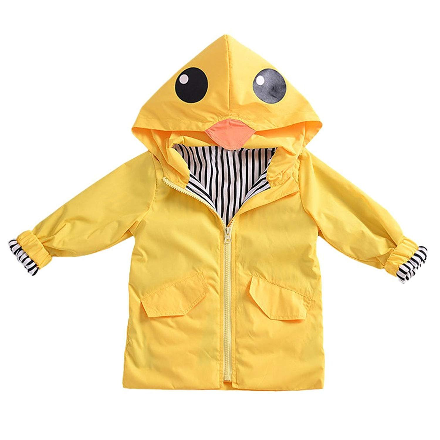 YOUNGER TREE Toddler Baby Boy Girl Duck Raincoat Cute Cartoon Hoodie Zipper Coat Outfit (Yellow, 80) by YOUNGER TREE (Image #5)