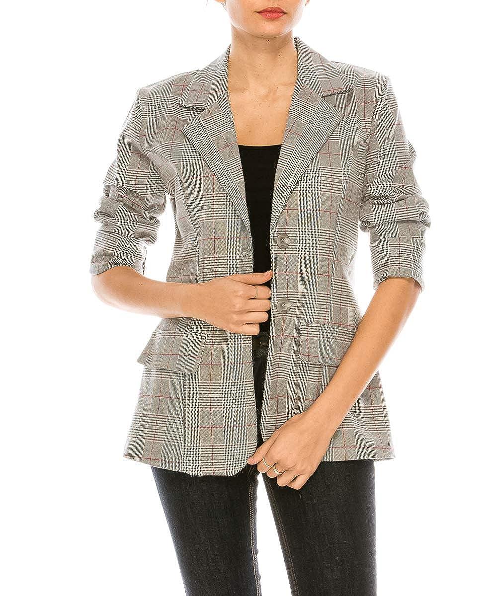 Blazer_red MissMissy Womens Business Office Casual Grey Check Parisian Blazer Pants Suit Set ST1752