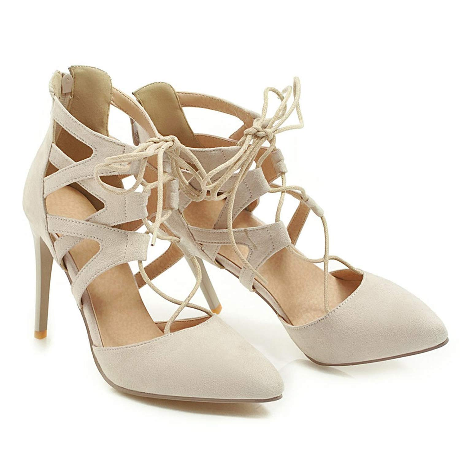 Beige Women Pointed Toe Sexy Cutouts Sandals Sexy Summer shoes
