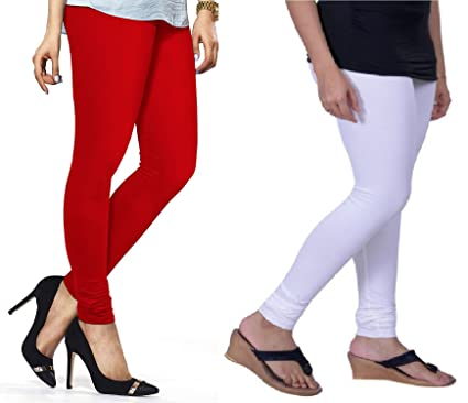 eb3cd0e542395b Lux Lyra Women's Pack Of 2 Churidar Leggings-Red & White: Amazon.in:  Clothing & Accessories