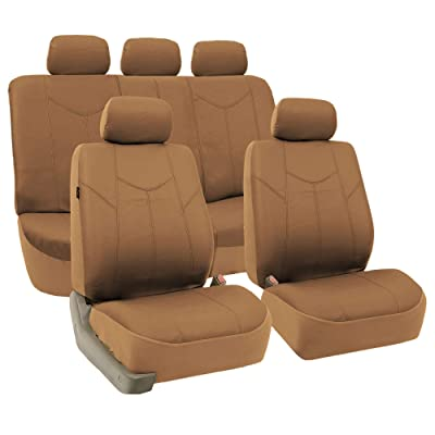 FH Group PU009115 PU Leather Rome Seat Covers (Tan) Full Set - Universal Fit for Cars, Turcks & SUVs: Automotive