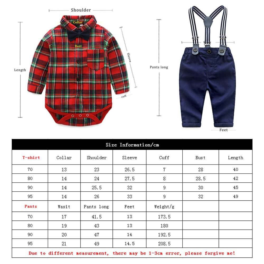 Top and Top Gentle Baby Boys Cotton Long Sleeve Plaid Romper Jumpsuits with Corduroy Pants Clothing Set