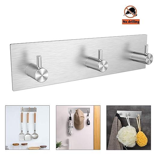 NEEGO Adhesivos Gancho de Toalla Ganchos Adhesivos 304 Acero Inoxidable Ganchos de Pared, Impermeable Resistente Toallero para baños Cocina (3 ...