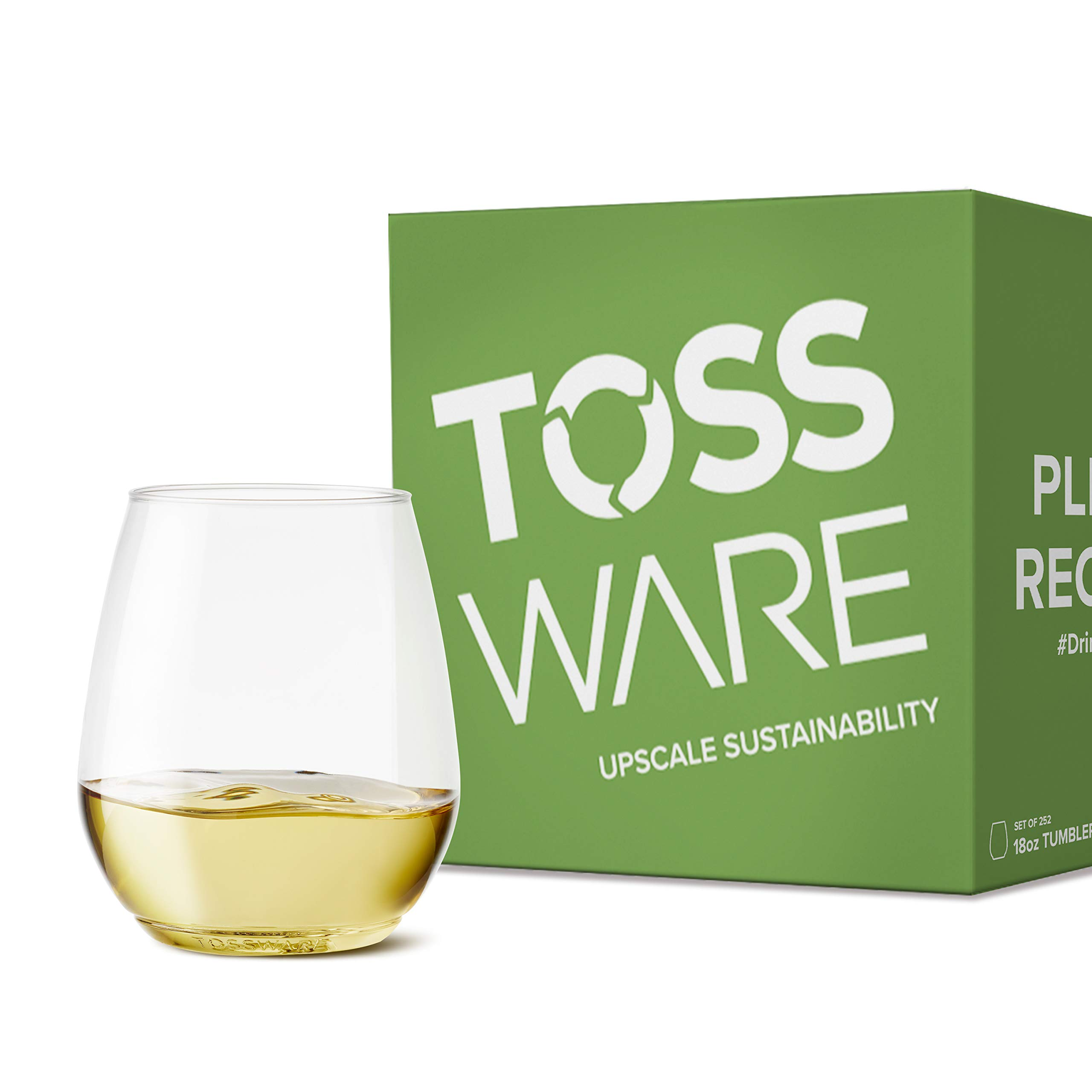 TOSSWARE 18oz Tumbler Recyclable Plastic Cup-Set of 252-stemless, shatterproof and BPA-Free Wine Glasses, Clear