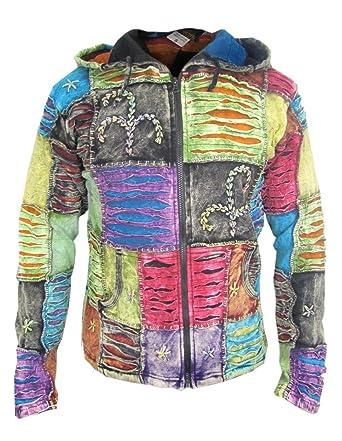 Little Kathamandu Herren Kapuzenjacke, Baumwolle, mit Handabdruck und dekorativen  Einschnitten, spitz zulaufende Kapuze
