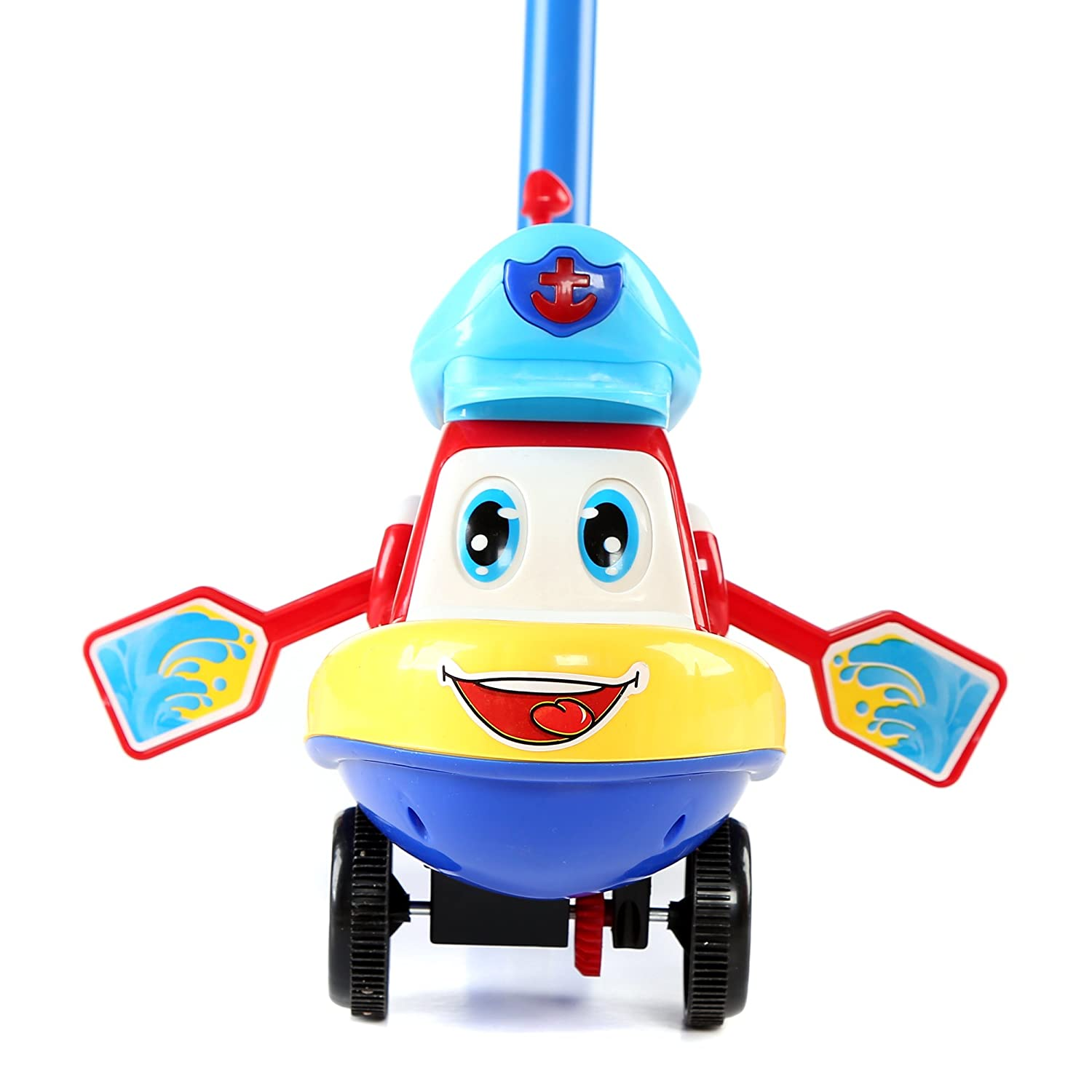 Fun Central BC904 1 Pc 10 Inches Boat Push Toy Pushing Toy for Kids Outdoor Push Toys Classic Push and Pull Toys Push Around Toy for Baptism Birthday and Party Prizes