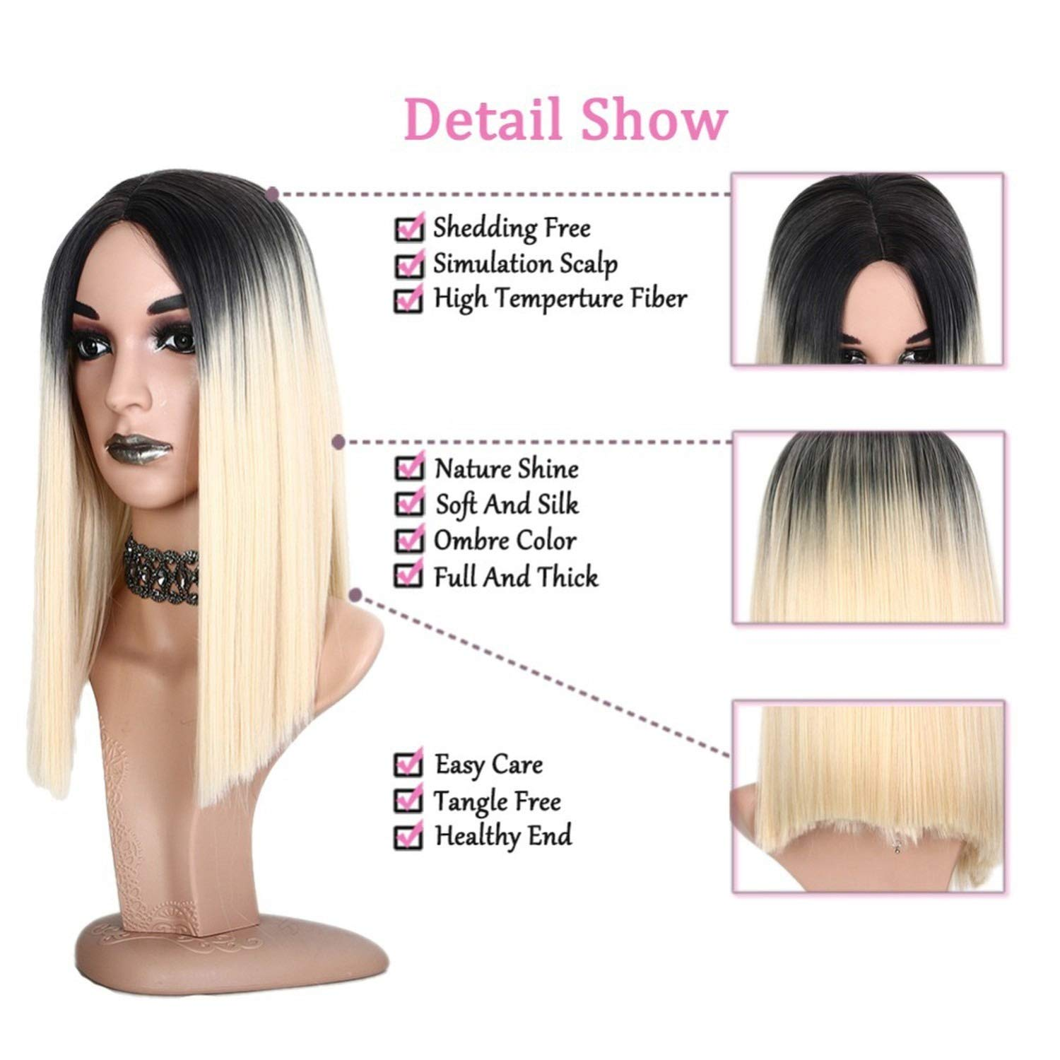Amazon.com: Wig Straight Synthetic Wigs Short Hair Women High temperature Fiber Cosplay hair,1,14inches: Beauty