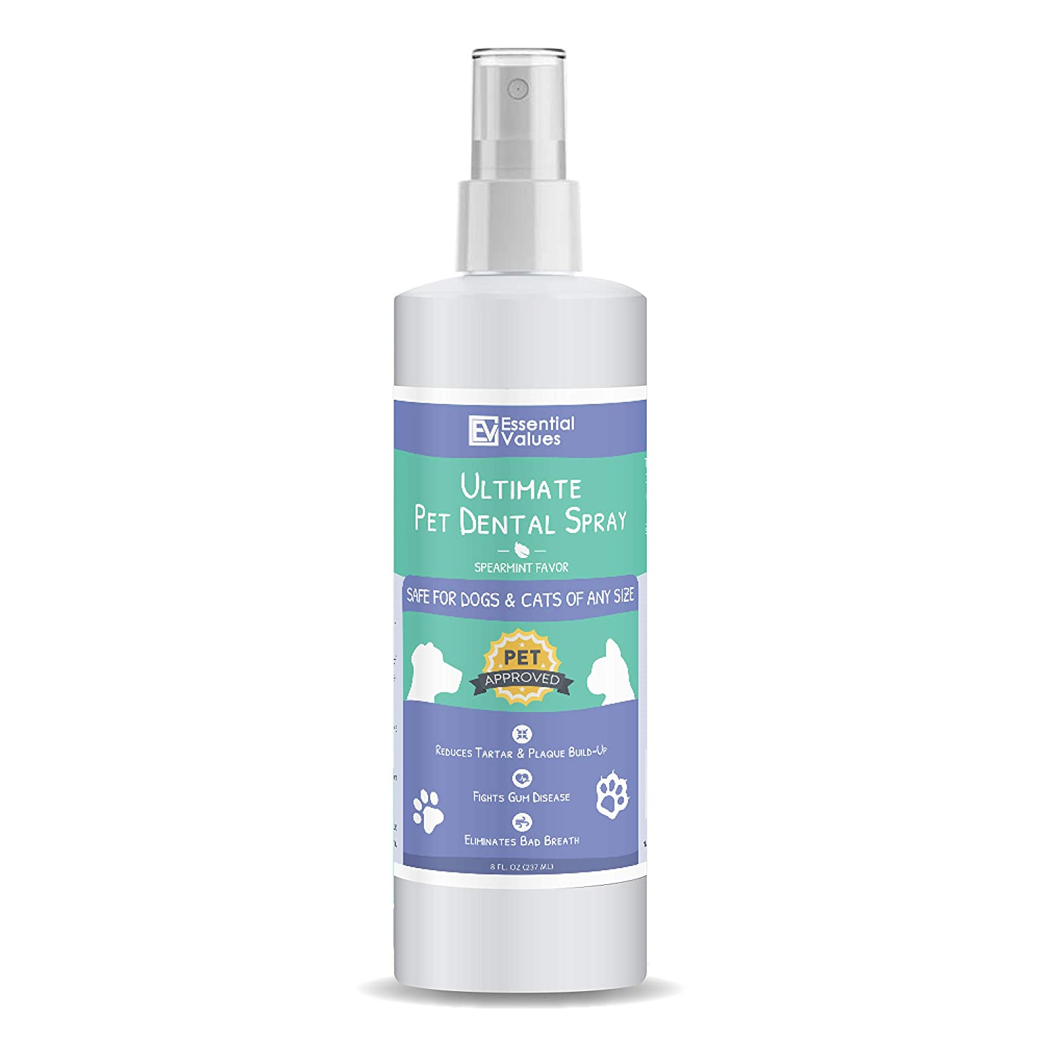 Essential Values 8 OZ Pet Dental Spray & Water Additive for Dogs and Cats – Natural & Safe Dental Care, Excellent for Bad Pet Breath | Fight Tartar, Plaque & Gum Disease – Made in USA