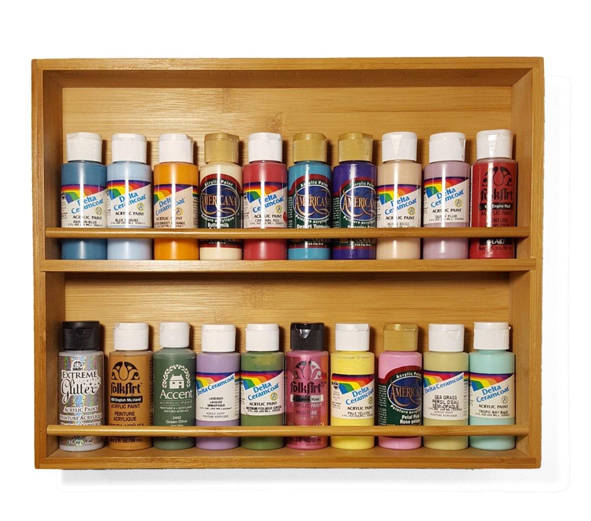 Amazon.com: Craft acrylic paint storage rack, solid wood shelf ...