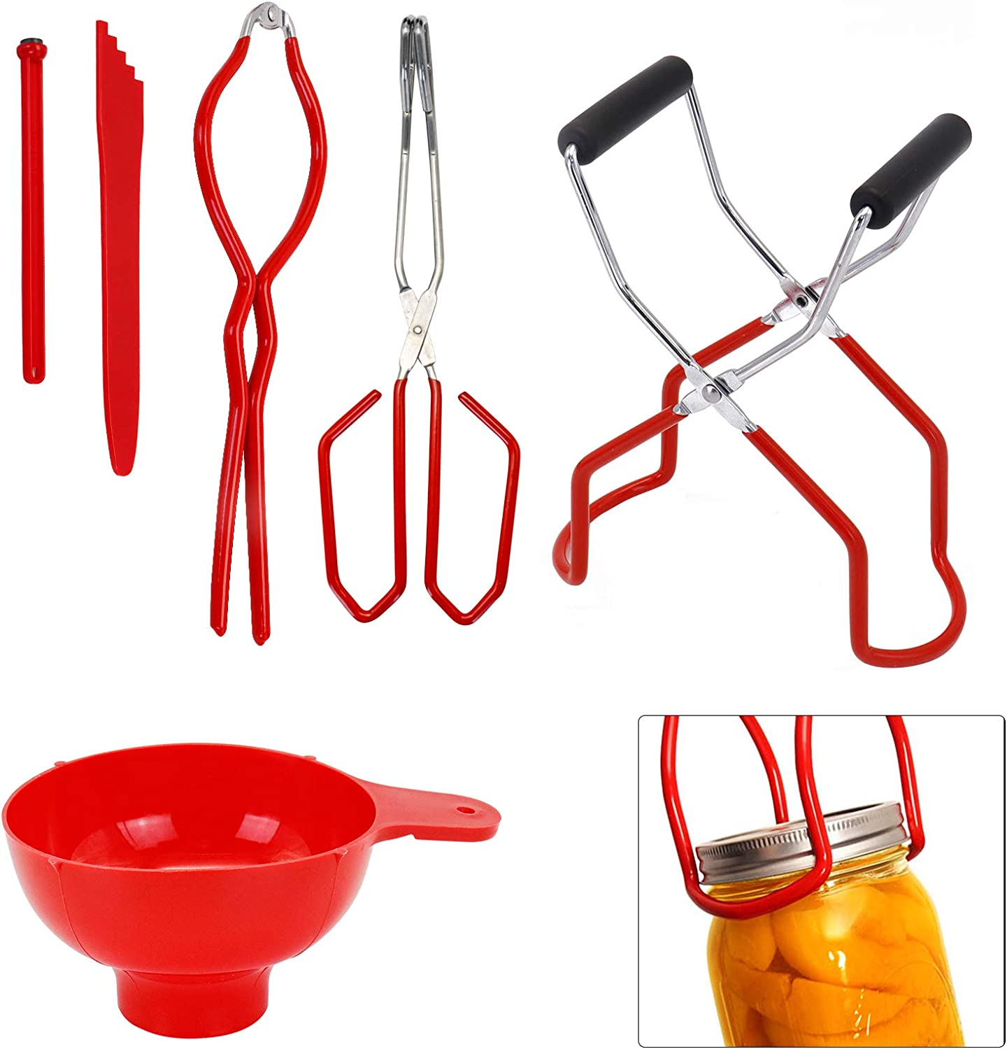 Canning Kits, Canning Jar Lifter with Grip Handles, Jar Tongs, Jar Wrench, Lid Lifter, Funnel for Wide Mouth and Regular Jars in Home Canning Supplies, Kitchen Tool Anti-Scald Clip Suit (Red)