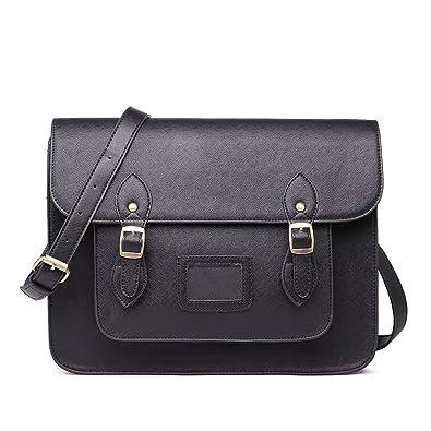 Miss Lulu Brand Vintage Designer Faux Leather Work Briefcase Satchel Bag  School Bag (Black) 9f71bce2cc0