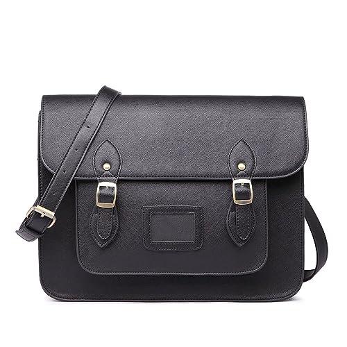 Vintage Miss Work Briefcase Designer Lulu Brand Faux Bag Leather Satchel Schoolblack EDH92I
