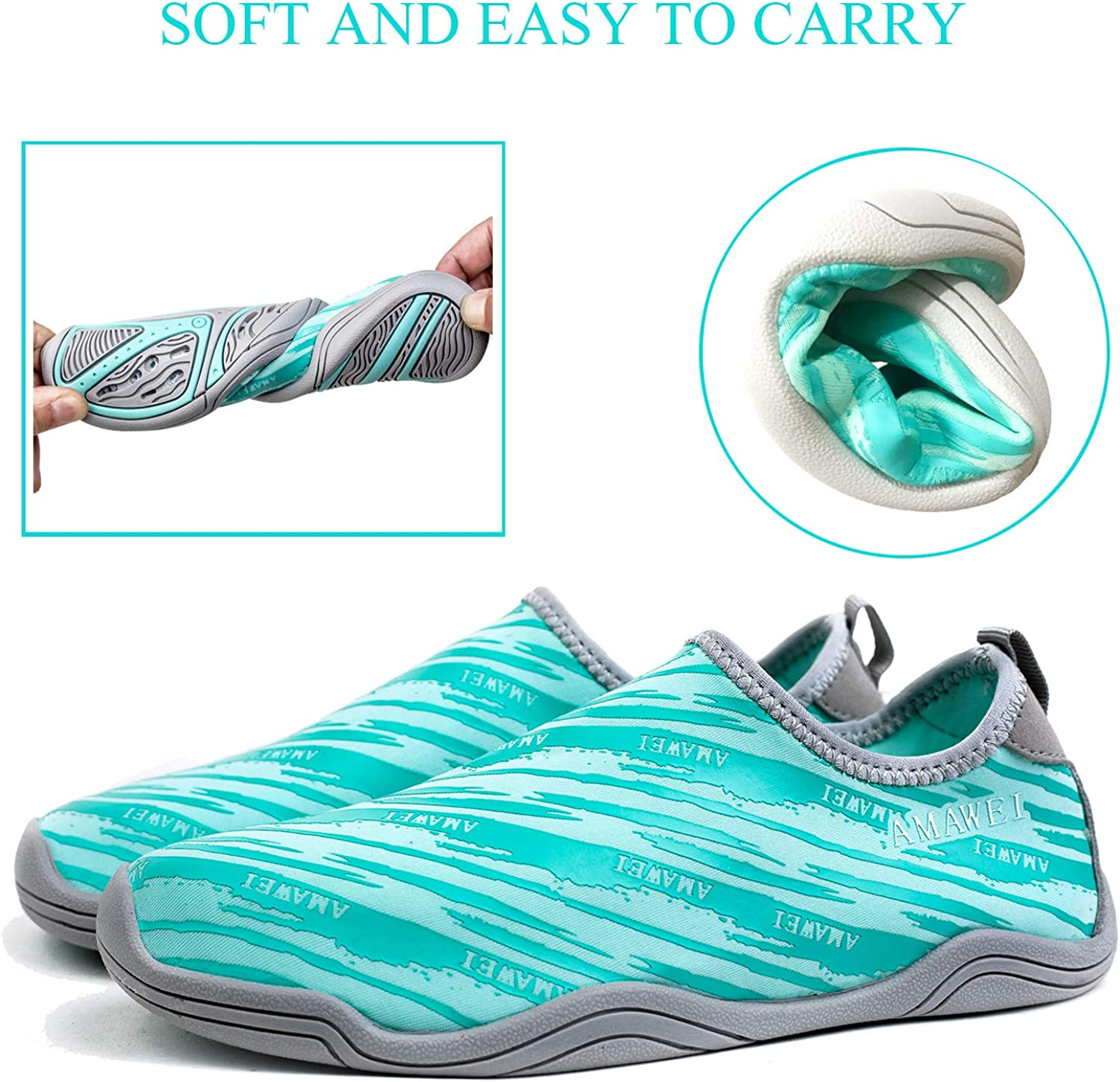 AMAWEI Kids Water Shoes for Boys Girls,Mens Womens Swim Shoes Quick Dry Beach Sports Aqua Shoes for Pool Surfing Walking