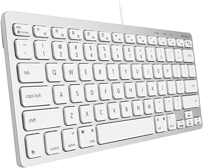 Macally Slim USB Wired Small Compact Mini Computer Keyboard for Apple Mac, iMac, MacBook Pro/Air, Mac Mini, Windows PC Desktops, Laptop (Aluminum Silver)