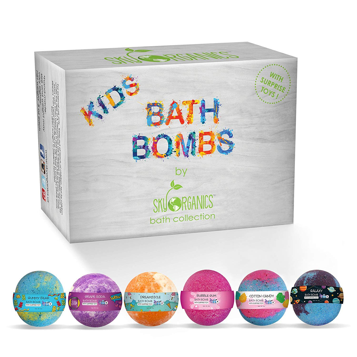 Sky Organics Kids Bath Bombs Gift Set with Surprise Toys Inside Fun Assorted Colored XL Bath Fizzies, Kid Safe Gender Neutral with Natural Essential Oils Handmade in The USA Bubble Bath Fizzy, 6ct : Beauty