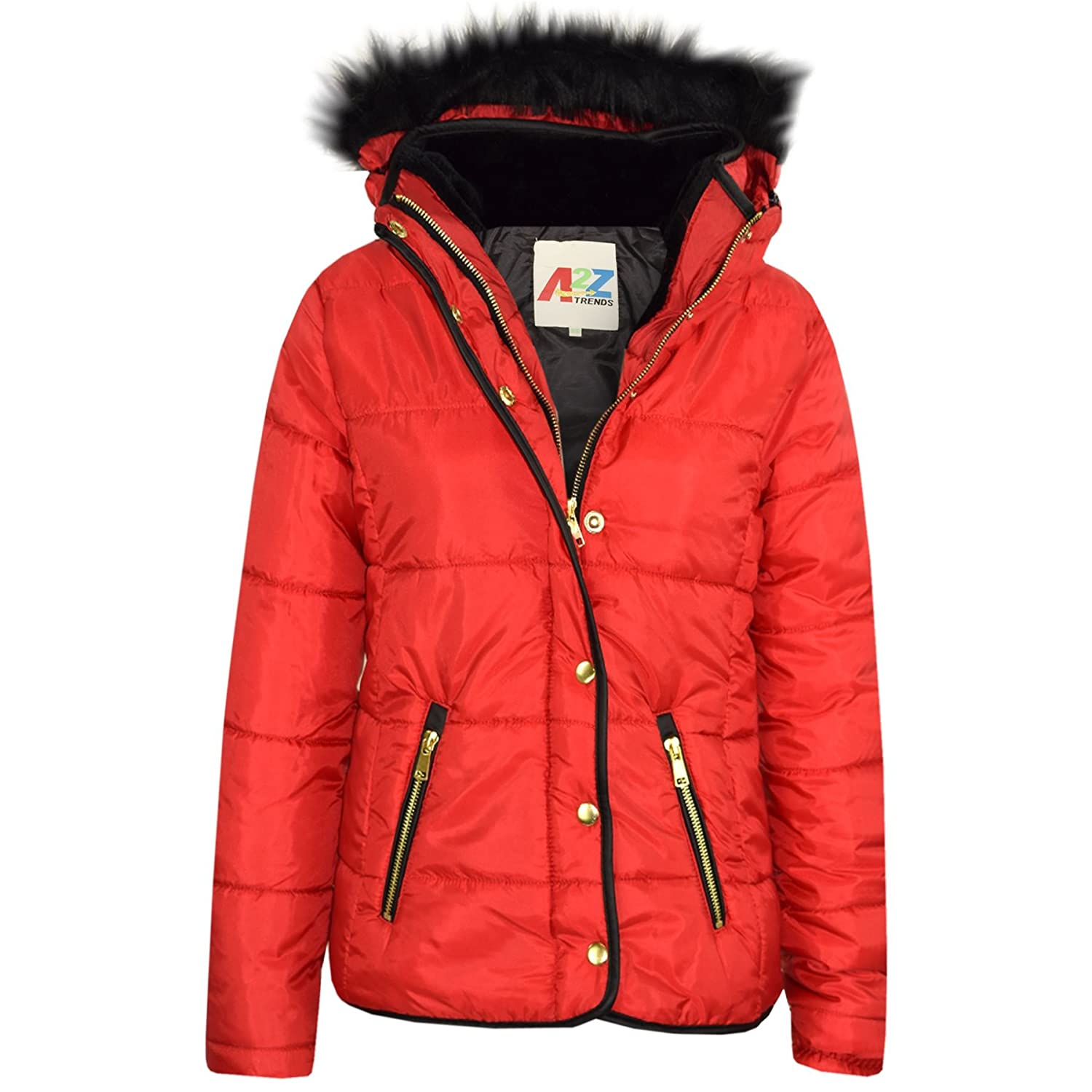 Girls Jackets Kids Red Padded Puffer Bubble Faux Fur Collar Quilted Warm Coats