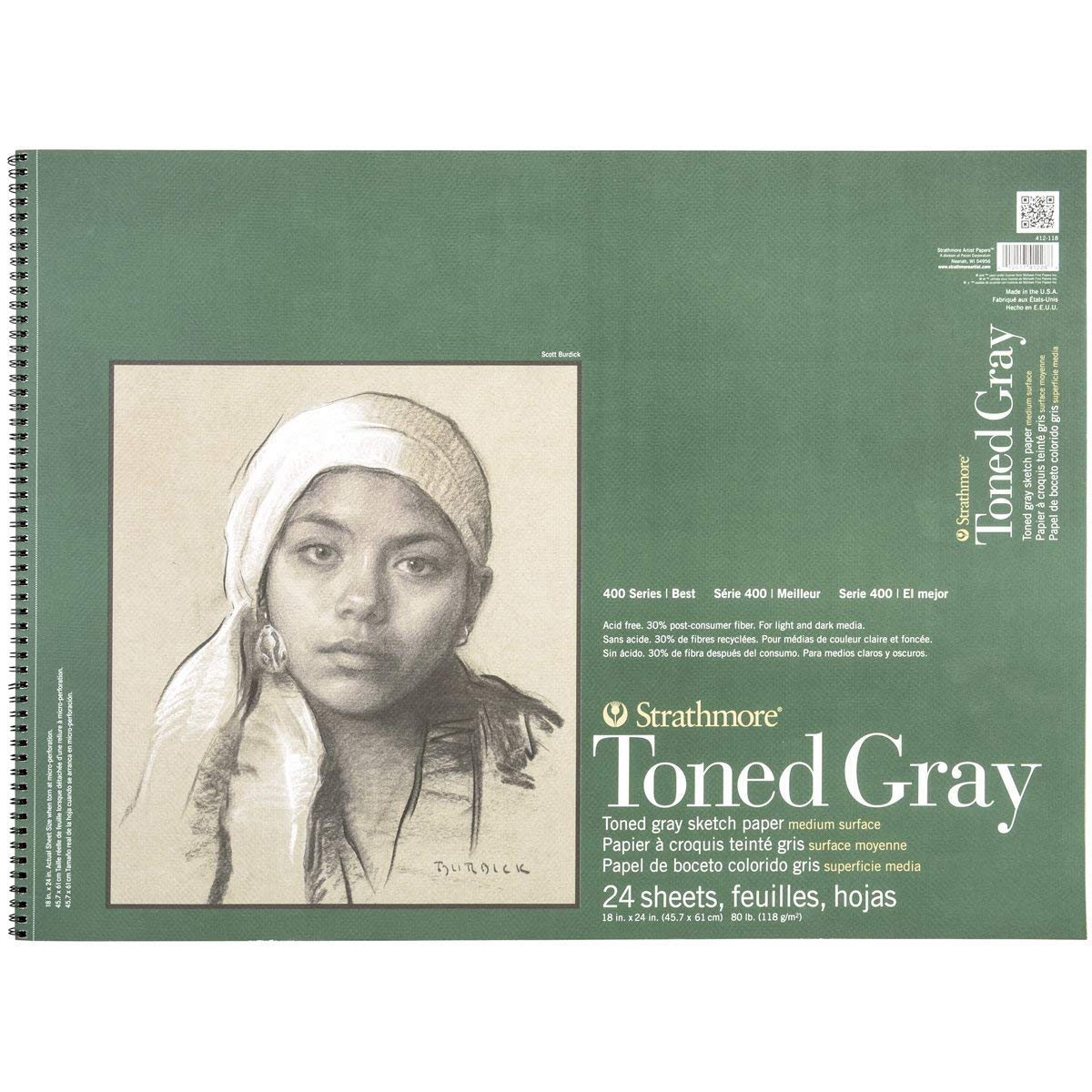 24 Sheets Strathmore 412-118 400 Series Toned Gray Sketch Pad 18x24 Wire Bound