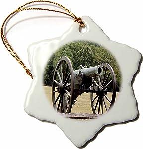 3dRose orn_43816_1 Civil War Cannon Snowflake Decorative Hanging Ornament, Porcelain, 3-Inch