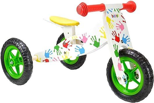boppi® Triciclo de Madera 2 en 1 – Bicicleta sin Pedales - Manos Estampadas: Amazon.es: Juguetes y juegos