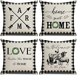 "KACOPOL Farmhouse Buffalo Check Plaid Pillow Covers Home Sweet Home Rustic Quotes Cotton Linen Throw Pillow Case Cushion Cover for Fall Home Decor Black and White 18"" x 18"" Set of 4 (Farm & Home)"