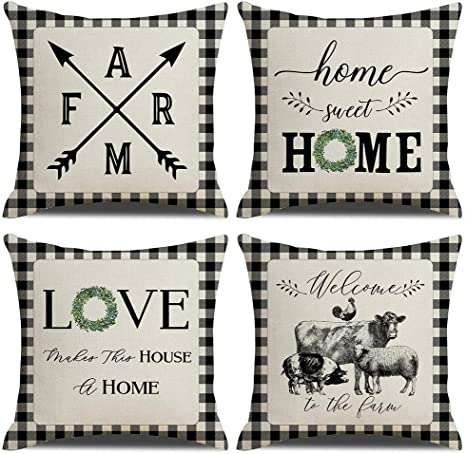 Amazon Com Kacopol Farmhouse Buffalo Check Plaid Pillow Covers Home Sweet Home Rustic Quotes Cotton Linen Throw Pillow Case Cushion Cover For Fall Home Decor Black And White 18 X 18 Set Of