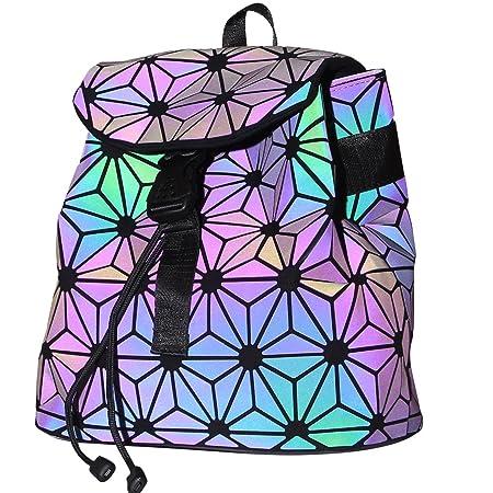 KAISIBO Fashion Geometric Backpack Lattice Holographic Reflective Backpacks for women Flower Luminous