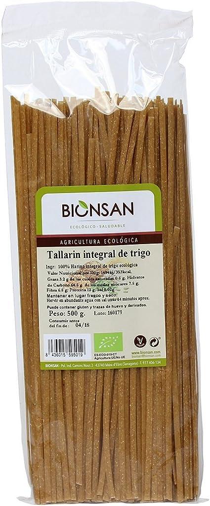 Bionsan Tallarín Integral de Trigo Ecológico- 6 Bolsas de 500 ...