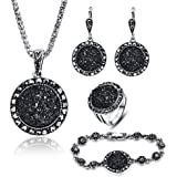 LUYUAN JEWELRY 4 PCS Black Jewelry Set for...