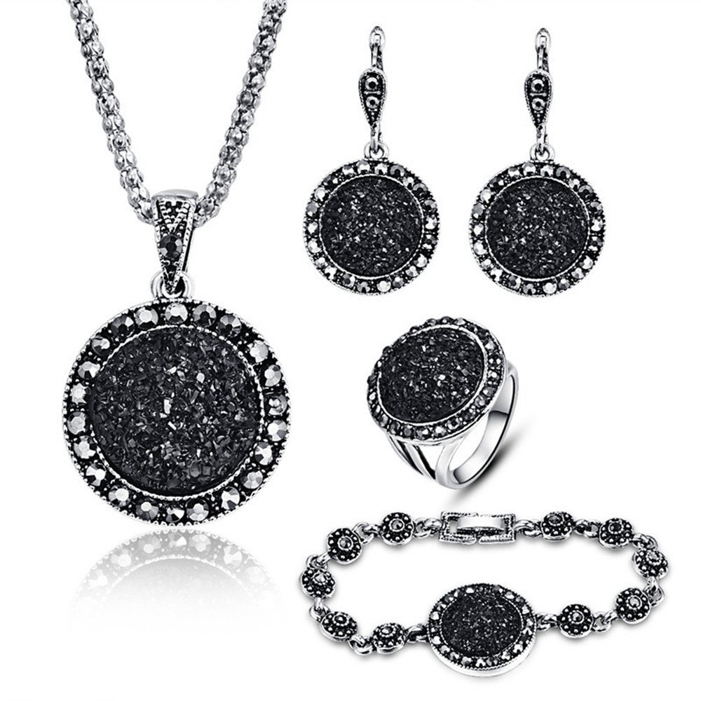 LUYUAN JEWELRY 4 PCS Black Jewelry Set for Women Diamond Drusy Agate Pendant Women Necklace Earring Ring and Bracelet Wedding Jewellery RS017-8