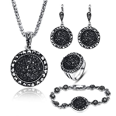 68ed321c9a9b0 LUYUAN JEWELRY 4 Packs Hoop Pendant Simulated Diamond Sparkly Jewelry Sets  with Bracelet - Ring Size