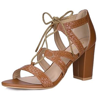 636a3b6a6c47 Allegra K Women s Braided Gladiator Chunky Heel Sandals Brown 3.5 UK Label Size  5.5 US