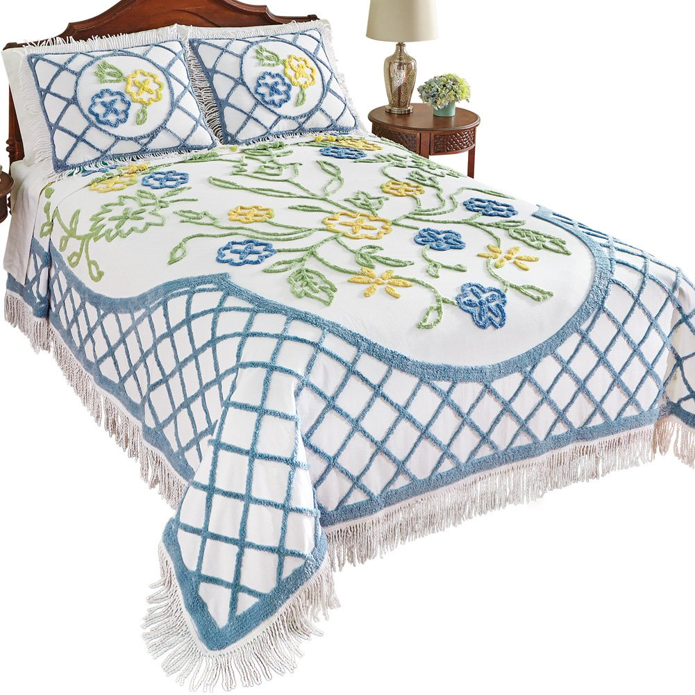 Collections Etc Flower Garden Vintage Look Cotton Chenille Bedspread w/Fringe Trim, Twin