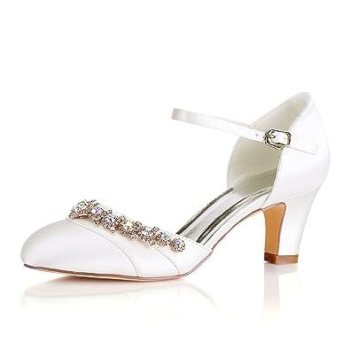 Emily Bridal Weisse Hochzeit Schuhe Frauen Round Toe Strass Schnalle