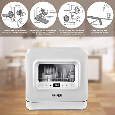 Airmsen Compact Mini Dish Washer with 5-Liter Built-in Water Tank and Air-Dry Function 5 Washing Programs Baby Care Portable Countertop Dishwasher Glass /& Fruit Wash-White//Black
