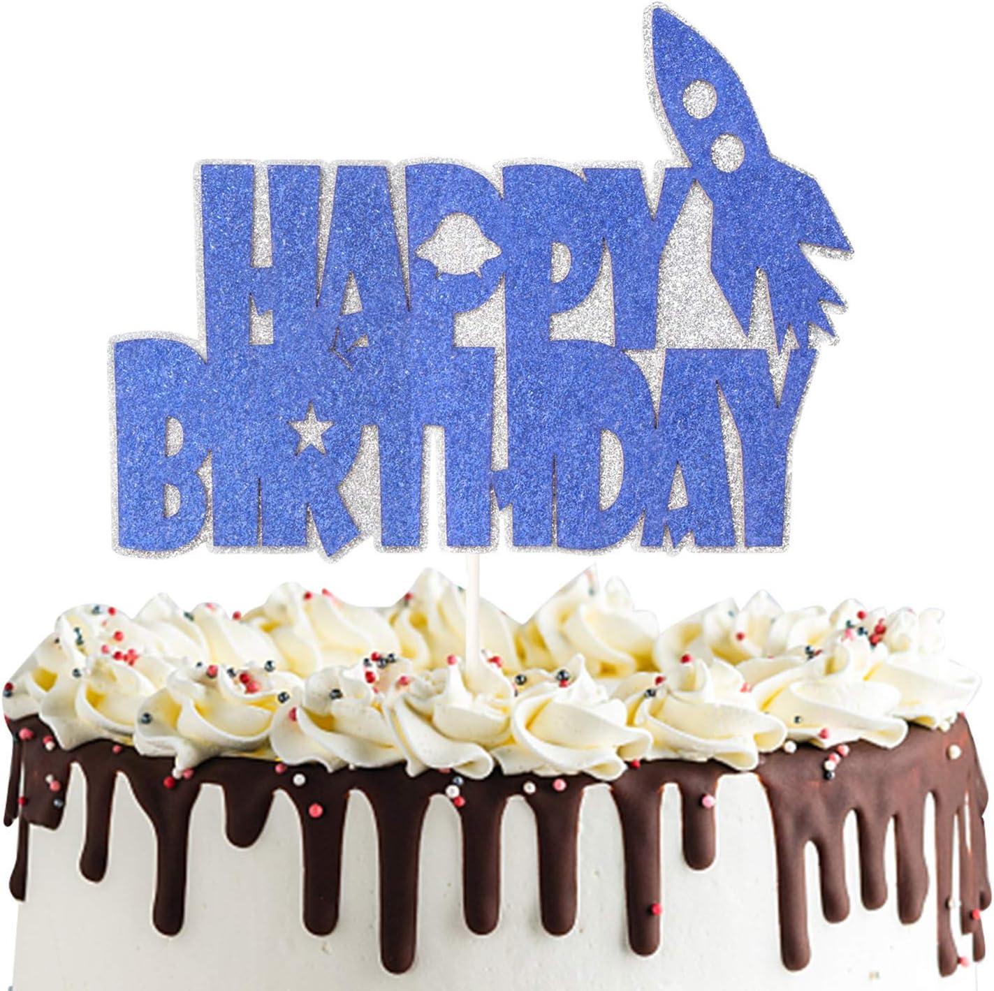 Personalised Rocket Cake Topper Spaceman Fun Kids Cake Decoration Birthday Boy Girl Spaceship.