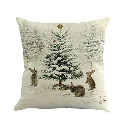 xmas throw pillow covers keepfit merry christmas home decor pillow case holiday season decorations for - Amazon Christmas Home Decor